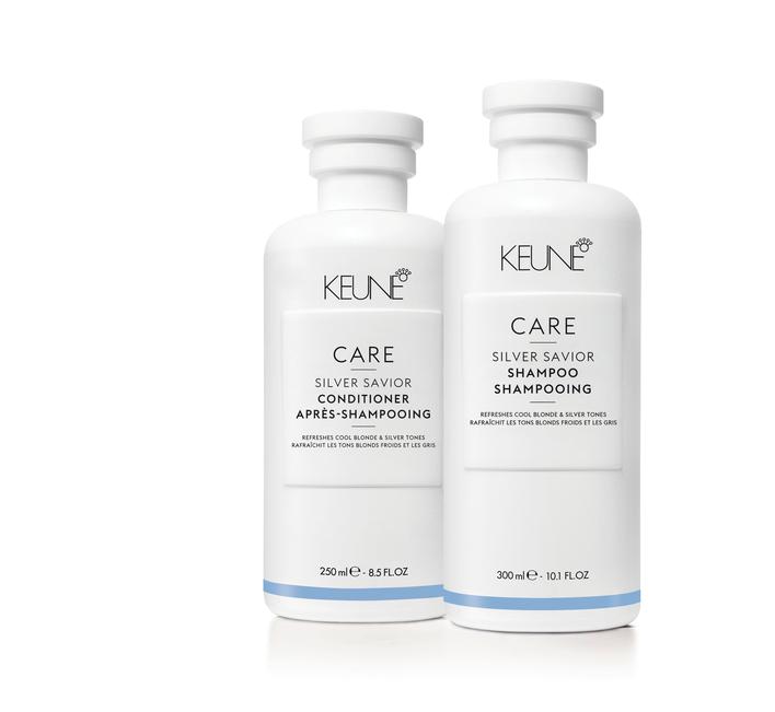 Care Line Keune shampoing et conditionner cheveux blond et gris tons froids